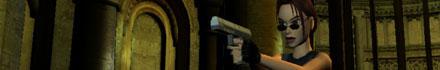 Lara Croft shooting the bad guys.